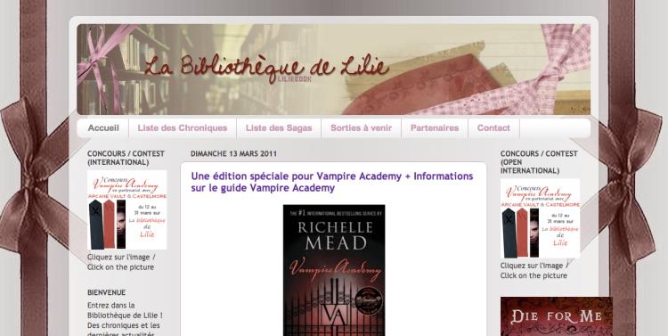 [Partenaire] La bibliothèque de Lilie - Site