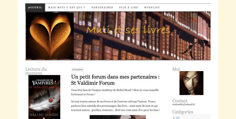 [Partenaire] Muti et ses livres - Site