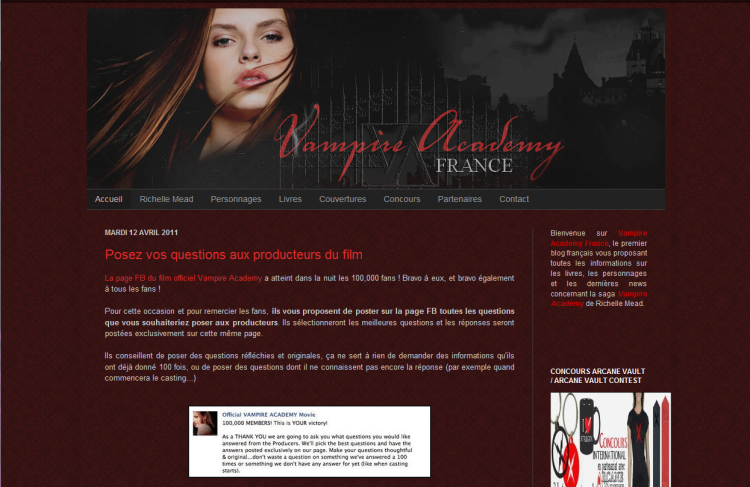 [Partenaire] Vampire Academy France - Site