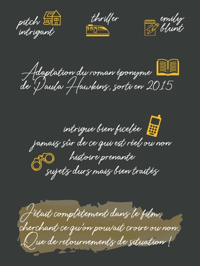 """Chronique du film """"La fille du train"""" : Pitch intrigant, thriller, Emily Blunt. Adaptation du roman éponyme de Paula Hawkins sorti en 2015. Intrigue bien ficelée, jamais sûr de ce qui est réel ou non, histoire prenante, sujets durs mais bien traités. Conclusion : j'étais complètement dans le film, cherchant ce qu'on pouvait croire ou non. Que de retournements de situation !"""