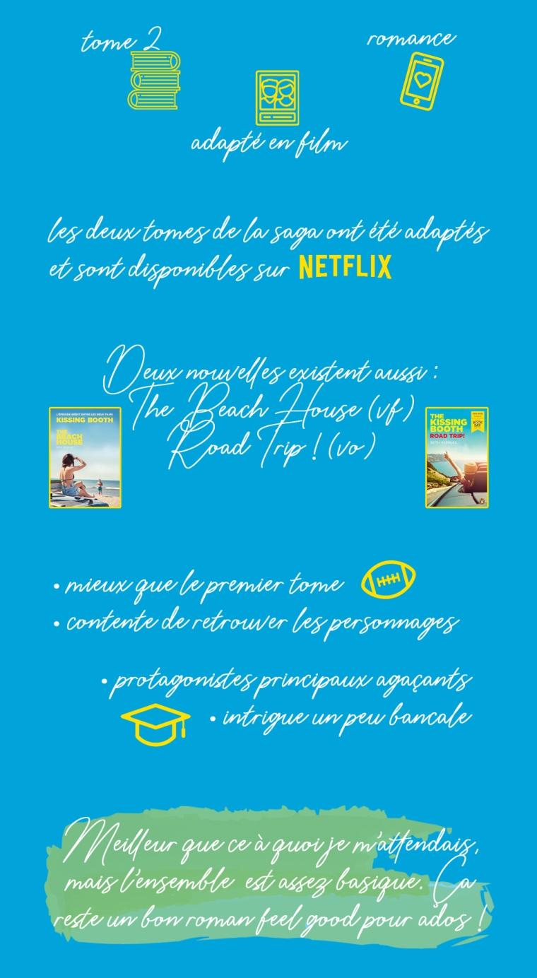 """Chronique du livre """"The kissing booth, tome 2 : Going the distance"""" de Beth Reekles : Tome 2, adapté en film, romance. Les deux tomes de la saga ont été adaptés en films et sont disponibles sur Netflix. Deux nouvelles sont aussi disponibles : Beach House (traduit en français) et Road Trip ! (uniquement en anglais). Les plus : mieux que le premier tome, contente de retrouver les personnages. Les moins : protagonistes principaux agaçants, intrigue bancale. Conclusion : meilleur que ce à quoi je m'attendais mais l'ensemble est assez basique. Ça reste un bon roman feel good pour ados !"""