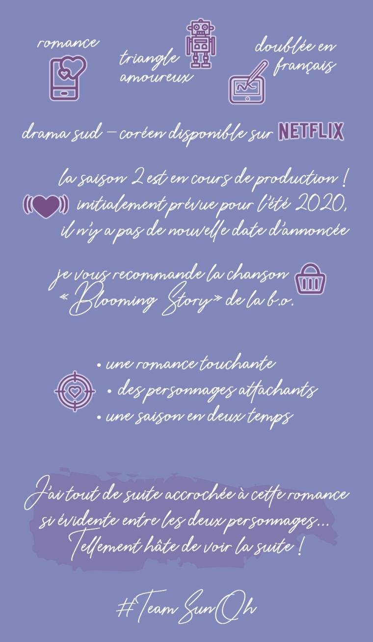 """Chronique de la série """"Love alarm, tome 1"""" : Romance, triangle amoureux, doublée en français. Drama sud-coréen disponible sur Netflix. La saison 2 est en cours de production ! Initialement prévue pour l'été 2020, il n'y a pas de nouvelle date d'annoncée. Je vous recommande la chanson """"Blooming story"""" de la bande originale. Les plus : une romance touchante, des personnages attachants, une saison en deux temps. Conclusion : J'ai tout de suite accroché à cette romance si évidente entre les deux personnages... Tellement hâte de voir la suite !"""