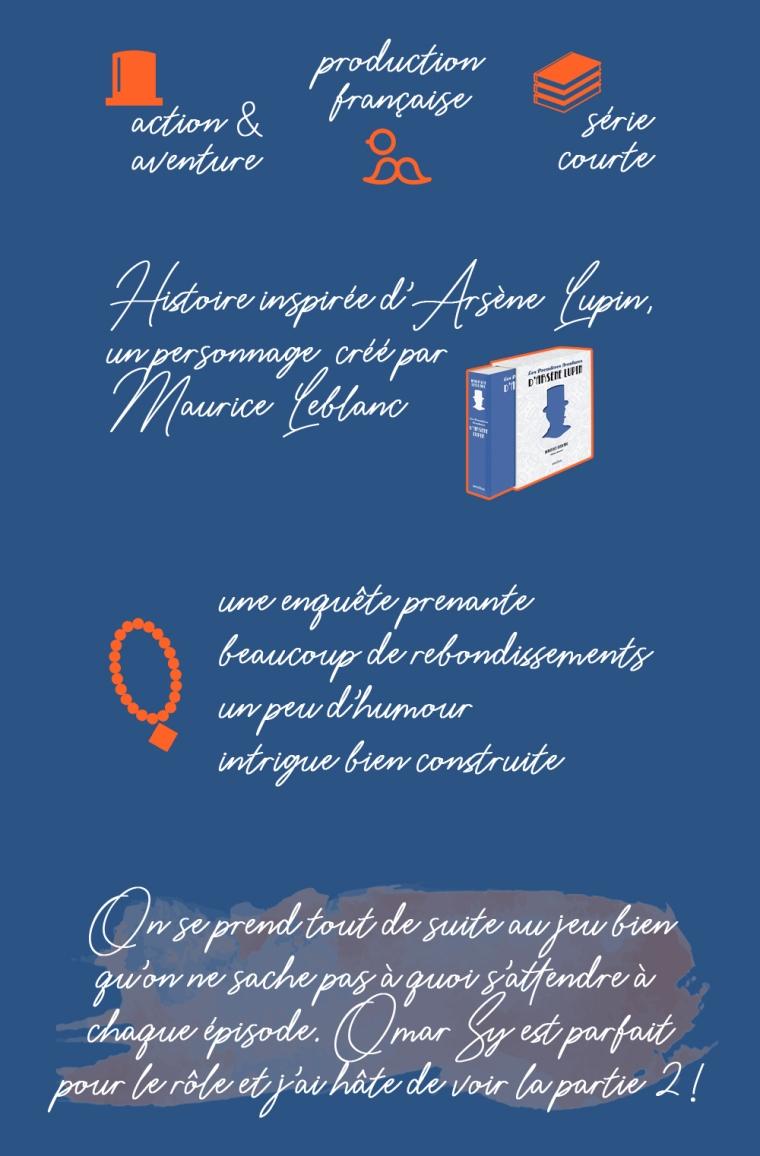 """Chronique de la saison 1 de la série """"Lupin"""" : action et aventure, production française, série courte. Histoire inspirée du personnage d'Arsène Lupin, un personnage créé par Maurice Leblanc. Les plus : une enquête prenante, beaucoup de rebondissements, un peu d'humour, une intrigue bien construite. Conclusion : on se prend tout de suite au jeu bien qu'on ne sache pas à quoi s'attendre à chaque épisode. Omar Sy est parfait pour le rôle et j'ai hâte de voir la partie 2 !"""
