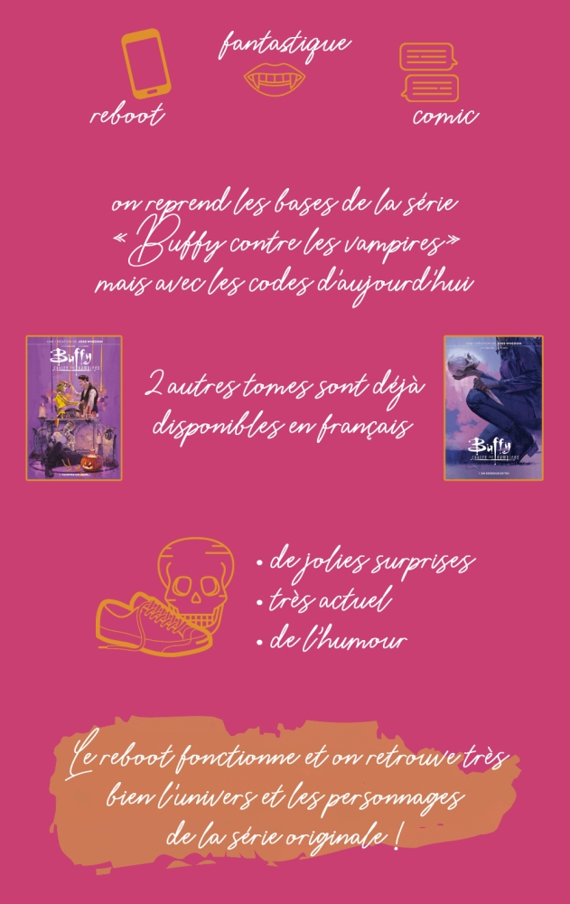 """Chronique du comics """"Buffy contre les vampires, tome 1 : L'enfer du lycée"""" : reboot, fantastique, comic. On reprend les bases de la série """"Buffy contre les vampires"""" mais avec les codes d'aujourd'hui. Deux autres tomes sont déjà disponibles en français : """"Vampire un jour..."""" et """"En dessous de toi"""". Les plus : de jolies surprises, très actuel, de l'humour. Conclusion : le reboot fonctionne et on retrouve très bien l'univers et les personnages de la série originale !"""